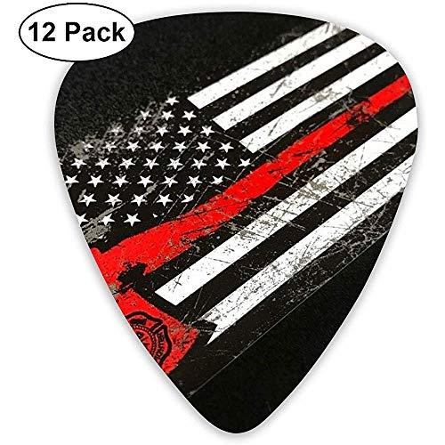 USA-dünne rote Linie Feuerwehrmann-Axt-Gitarren-Auswahl 12 Satz - 3 verschiedene Größen schließt dünnes, mittleres u. Schweres mit ein