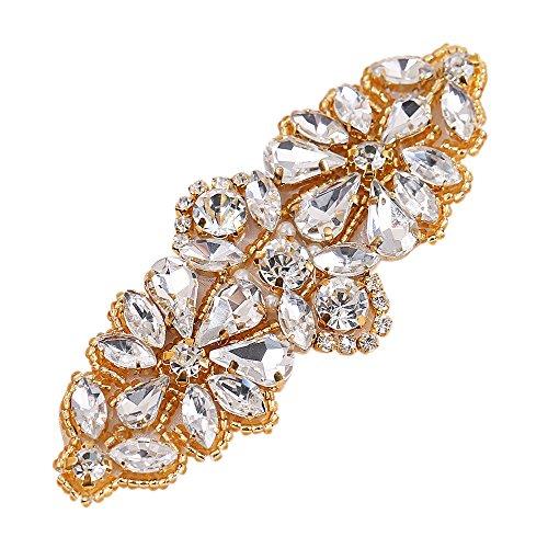 Gold Bridal Applique, FANGZHIDI Short Handmade Rhinestone Bead Trim for Bride Belt, Wedding Dress, Bag Decor, Flower Basket, High Heels Shoes