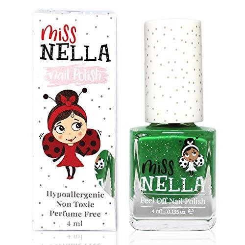 Miss Nella KISS THE FROG- Spezieller Grün Nagellack mit Glitzer für Kinder, Peel-Off-Formel, wasserbasiert und geruchsneutral