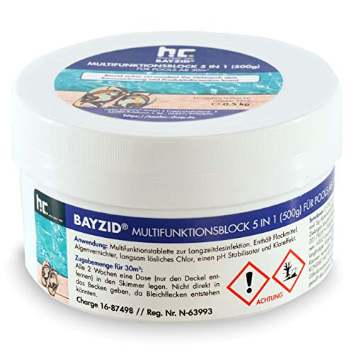 Höfer Chemie 4 x 500g Multitabs 5 in 1 im Block - Langzeitbehandlung mit Chlor für Ihren Pool - für sauberes & hygienisches Poolwasser