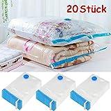 Yaheetech 20 Stück Vakuumbeutel Kleiderbeutel Aufbewahrungsbeutel Platzersparend für Kleidung und Aufbewahrung Reise