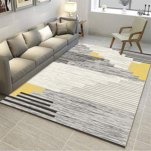 Alfombra Antideslizante Gris Alfombra de Sala de Estar Gris difuso patrón de Rayas Alfombra Suave Lavable alfombras Infantiles habitacion 160X230CM alfombras de Pelo para habitacion 5ft 3''X7ft 6.6''