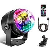 Discokugel LED Party Lampe Musikgesteuert OMERIL Disco Lichteffekte Discolicht mit 4M USB Kabel,7 Farbe RGB 360° Drehbares Partylicht mit Fernbedienung für Weihnachten, Kinder, Kinderzimmer, Partei