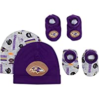 NFL Baltimore Ravens 2 Baby Caps and 2 Booties Set, 0-6 Months, Purple/Gray