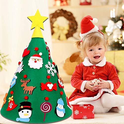 Kbnian Albero di Natale in Feltro 3D Albero di Natale Fai da Te a Forma di Cono DIY Albero in Feltro Decorazione Albero in Feltro con 35 Decorativo Ornamenti 125 * 60cm (Verde)