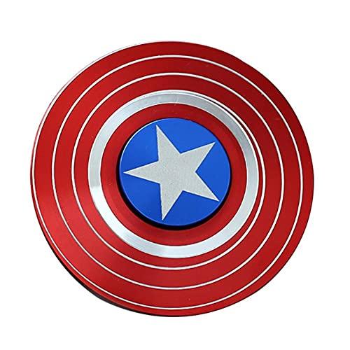 UKKD Descomprime el Juguete 2P / Americano Capitán Fingerip Gyro Shield Aleación Gyro Spinner Discompression Toy Fidget Spinner Hobbies para Adultos-Captain Red