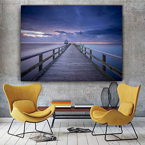 wZUN Lienzo Pintura Puente Pintura Paisaje Carteles e Impresiones decoración de la Sala Carta náutica decoración del baño 60x80 Sin Marco