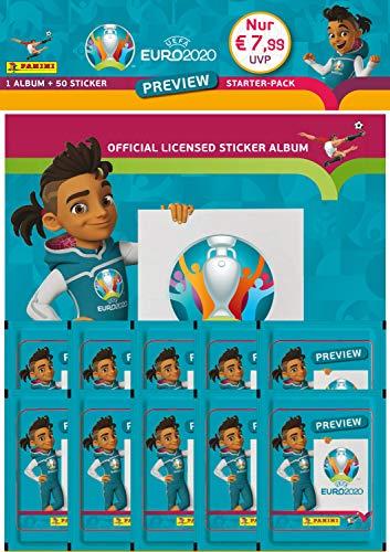 Panini EURO 2020 Preview, Sammelsticker Sonderkollektion, Starterpack bestehend aus Sammelalbum und 10 Tütchen (50 Sticker)