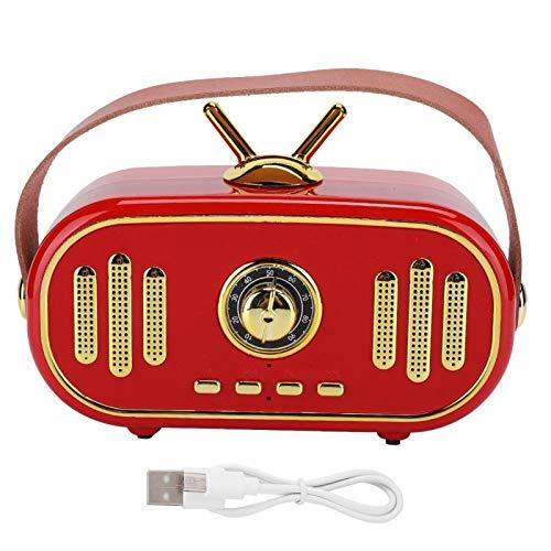 Fdit Altavoz Bluetooth, DC 5V Mini Altavoz Estéreo Bluetooth Inalámbrico Estilo Retro Portátil Tarjeta Enchufable Reproductor de Música, Altavoz Bluetooth de Escritorio en Casa(Rojo)
