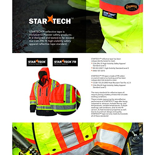 Pioneer Hi Vis Safety T Shirt for Men - Reflective Tape for ANSI Class 3 Work - High-Visibility Short Sleeve T-Shirt – Cool, Breathable, Lightweight Tee – Orange or Yellow/Green, Large