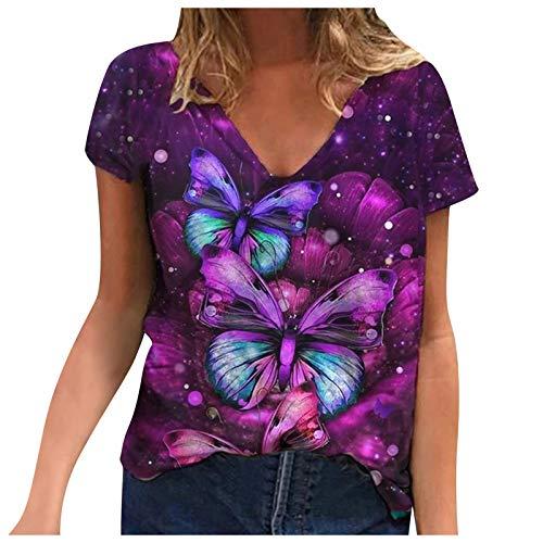 Camiseta informal de manga corta con cuello en V para mujer, diseño floral, estampado de mariposas de verano, camisetas básicas cómodas, blusa