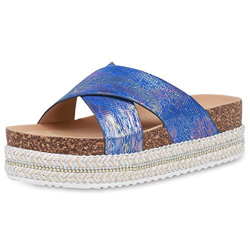 SCARPE VITA Damen Sandaletten Pantoletten Metallic Plateau Sandalen Prints Korkoptik Schuhe Sommer Plateauschuhe 193343 Blau Rose Gold 39