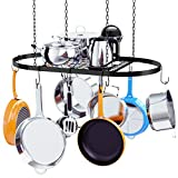 Kaptron Pot Rack Ceiling Mount Cookware Pan Rack Hanging Hanger Organizer Storage with 10 Pot Hooks - Multi-Purpose Organizer Holder for Home, Restaurant, Kitchen Cookware, Utensils, Household
