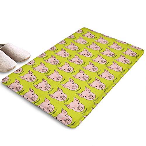 Kcmical Vegano Cerdo Frente Animal Entrada de Bienvenida Entrada Popular Alfombra Fácil de Limpiar