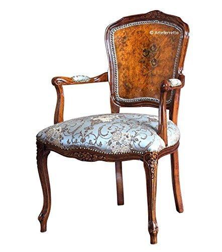 Poltrona Parisienne in legno schienale dipinto a mano, poltrona da soggiorno