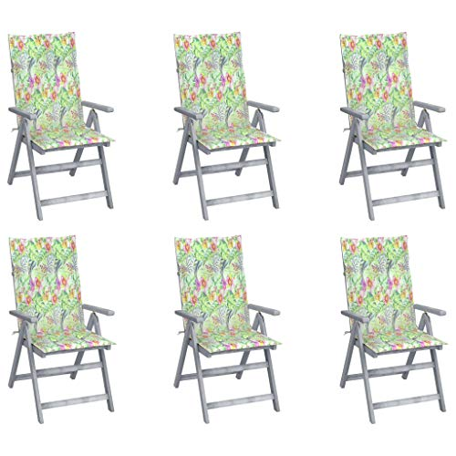 vidaXL 6X Madera Madera Acacia Sillas de Jardín Reclinables Cojines Plegables Sillón Exterior Balcón Terraza Patio Asiento Butaca Muebles Mobiliario