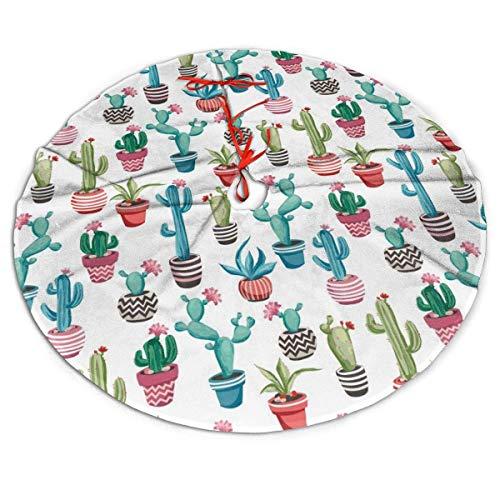 AEMAPE Falda de árbol de Navidad Falda de árbol de Navidad de Cactus en Maceta de Dibujos Animados, Decoración de Fiesta de año Nuevo, 91Cm (36 Pulgadas)