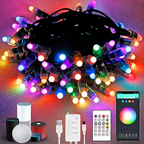 Smart Outdoor String Lights,32.8FT IP65 Waterproof Led Fairy Light,Sync Music Work with Alexa & Google Home Christmas Decorative Lights,Connect WiFi and Bluetooth,App and Remote Wireless Controlled