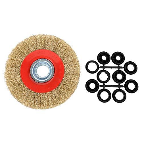 GEEKEN 1pz 8 Pulgadas 200mm Cepillo de de rueda de alambre plano de acero con 10pzs Anillos adaptador para amoladora de banco pulido