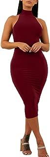 Women's Sexy Halter High Neck Elegant Sleeveless Bodycon Midi Club Dress