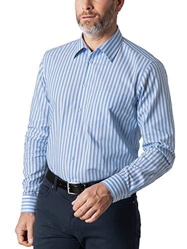 Walbusch Herren Hemd Bügelfrei Strukturhemd gestreift Streifen Blau 44 - Langarm extra kurz