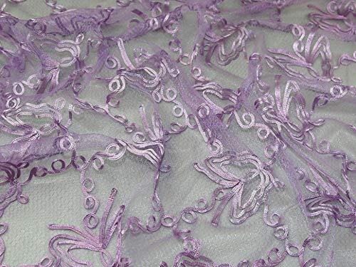 Minerva Crafts Spitzenstoff, bestickt, Meterware, Violett
