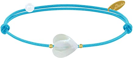 Les Poulettes Jewels - Bracelet Link Sweet Heart Mother of Pearl and Gold Plated Pearls - Colors