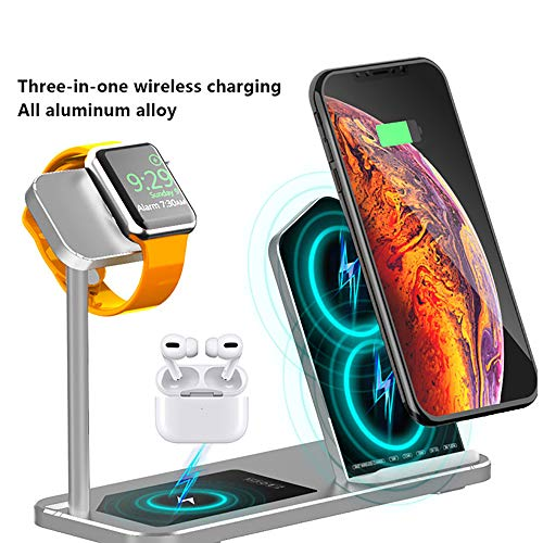 BYBYC Chargeur sans Fil pour Apple iWatch Montre 1 2 3 4 5 AirPod Pro Chargeur Dock 3 en 1 Panneau en Alliage d'aluminium de Charge pour Iphone Téléphone,Argent