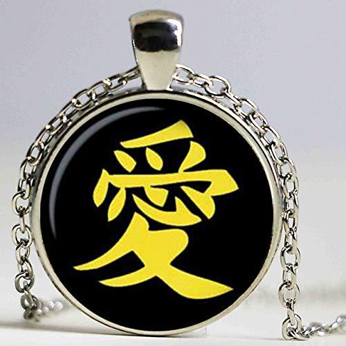 Japanische Charaktere Liebe Anhänger Chocker Halskette Japanische Zeichen Liebe Halskette Anhänger Japanische Zeichen Liebe Schmuck