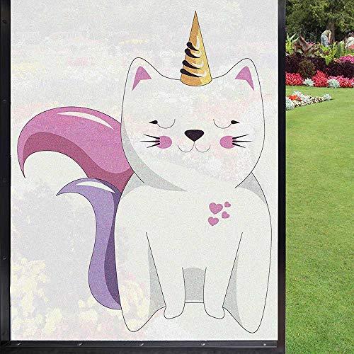 Cortina decorativa para ventana, diseño de gato de unicornio, 60 x 90 cm, color rosa y naranja