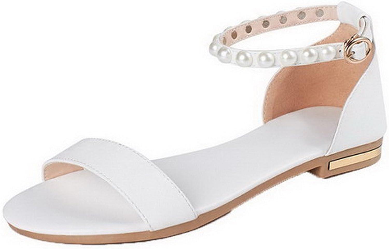 AmoonyFashion Women's Buckle Low-Heels PU Solid Open Toe Sandals, BUSLS005259