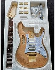 Lokaibin Elektrische Gitaar Kit Set Manchurian Ash Basswood Body Rosewood Fingerboard Duurzame Esdoorn Hals Gitaar Accessoires (Color : SHULIU YH7V 4, Size : 41 inches)