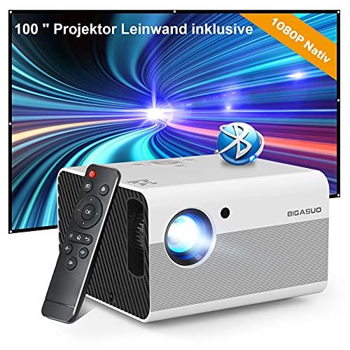Bluetooth Beamer Full HD 1080P, Outdoor Movie Beamer mit Screen, BIGASUO 8000L Heimkino Video Projektor mit Zoom,Mini Tragbarer LED Projektor Kompatibel mit Handy/HDMI/USB/Laptop/PS4