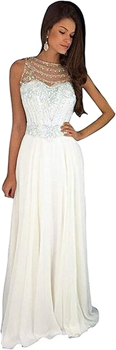 Lemai Sheer Back Beaded Long A Line Chiffon Prom Dresses Evening Formal Gowns