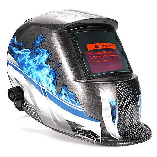 AEUWIER Masque de Soudage, Casque Intégral de soudage à Arc Automatique Anti-éclaboussure, Masque de Soudage Electrique de Lumière Variable Automatique Energie Solaire Grand Champ