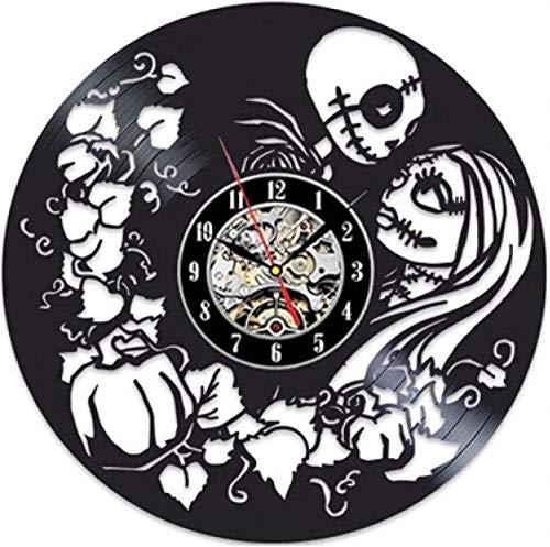 xiadayu Reloj de Pared de Vinilo Diseño Moderno La Pesadilla Antes de Navidad Reloj 3D Relojes de Pared de Vinilo Decoración del hogar Regalos para Amigos