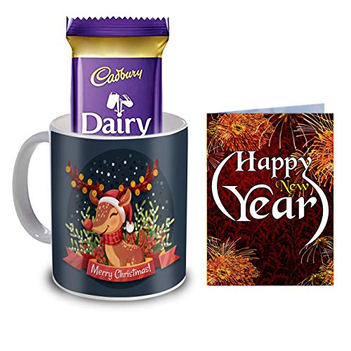 R B Store Merry Christmas Combo Gift Pack Printed Mug, Card and Chocolate Gift for Friend and Family