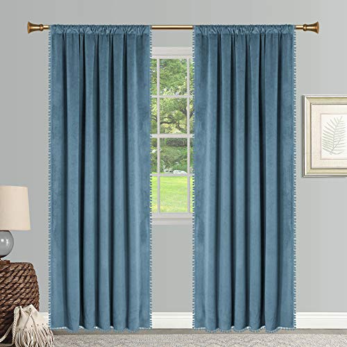 SNITIE Pom Pom Velvet Curtains with Rod Pocket Thermal Insualted Soft Privacy Light Filtering Velvet Drapes for Bedroom and Living Room, Set of 2 Panels ( Sky Blue, 42 x 84 Inches Long )