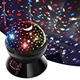 Star Projector SCOPOW Night Light Gift for 4-10 Year Old Girls Room Decor, 360 Degree Rotation Colorful Star Light Projector for Bedroom Ceiling for Adults Kids, Glow in The Dark Stars (Black-Gifts)