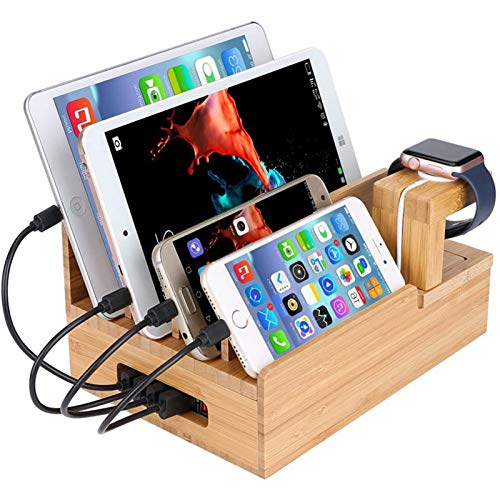 lcy Natural Bamboo Mobile Phone Wooden Stand, Tablet Computer Wooden Stand Charging Station Watch Stand for iPad iPhone Watch Multiple Device Hosting