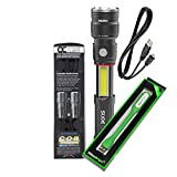 Nebo Slyde King 500 Lumen USB rechargeable LED flashlight/Worklight 6726, rechargeable Li-ion battery with EdisonBright USB powered reading light bundle