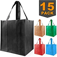 Grocery Bags Reusable Foldable, Durable Heavy Duty Shopping Totes, Washable, Long Handles & Eco Friendly Reusable Shopping Bags (15 Pack)