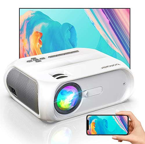 Vidéoprojecteur WiFi, BOMAKER Supporte 1080P Full HD Projecteur Portable 6000 Lumens Rétroprojecteur Portable Multimédia Home Cinéma Outdoor Film pour iPhone/iPad/Android/TV Stick/PS4/HDMI/VGA/AV/USB