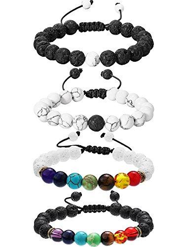 Bememo 4 Stück Lava Stein Armbänder 7 Farben Chakra Perlen, Aromatherapie Armbänder Armreifen für Ätherische Öle (Stil Set 2)
