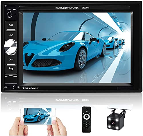 Hikity 6.2 Inch Double Din Car Stereo with Bluetooth Touch Screen FM Radio Receiver Support Phone Projection Mirror Link + Reversing Camera & Steering Wheel Control