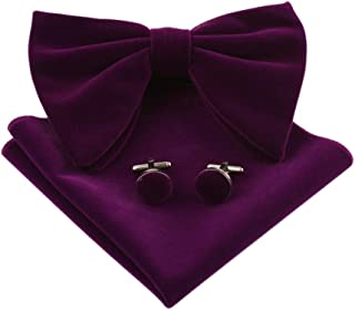 Levao Mens Velvet Bow Tie Vintage Tuxedo Big Bowtie & Cufflinks & Pocket Square Set
