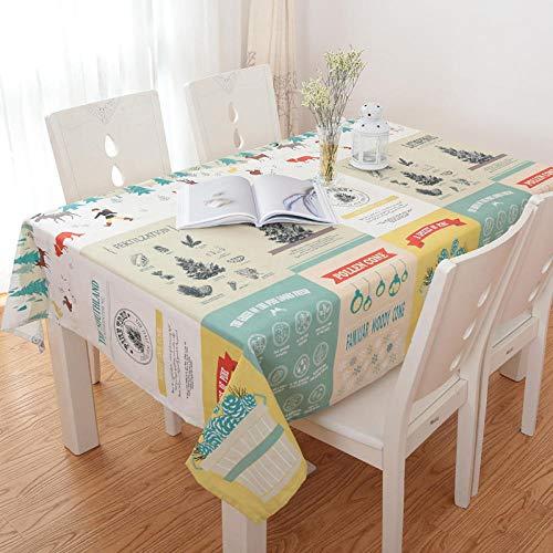 GTWOZNB Transpirable, Aislamiento Térmico, Restaurante,Cocina, Cafetería, Mantel de Jardín Moda Pastoral Simple-Hojas_El 120 * 160cm