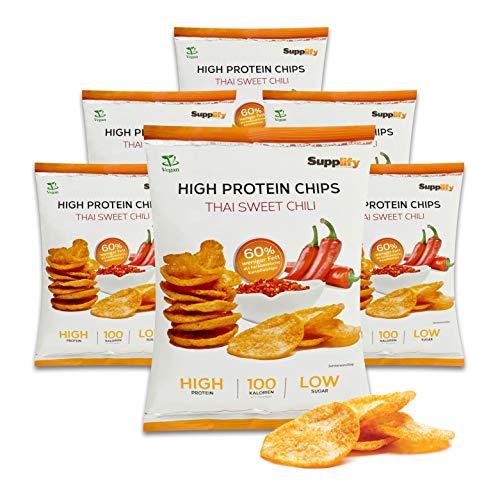Supplify Protein Chips - Eiweiß Fitness Snack Mix Box, Whey Proteinpulver und Protein Riegel, ideal zum Abnehmen oder als Muskelaufbau Booster- 6x 50g, Thai Sweet Chili (vegan)