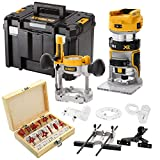 Dewalt DCW604NT 18V Brushless Router with Base, 12Pc 1/4' Shank Cutter Set & Case