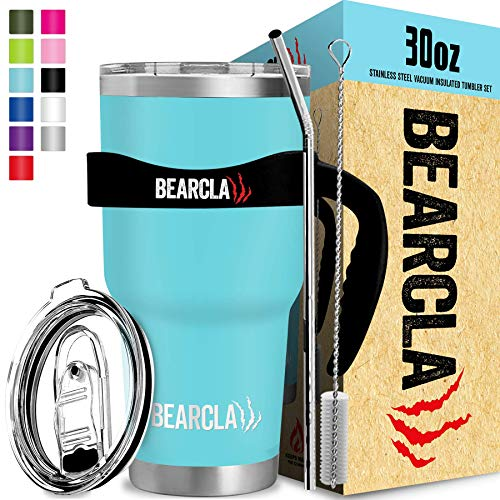 BEARCLAW Stainless Steel Water Tumbler With Straw - Vacuum Insulated Keeps Ice Cold 24+ Hours 6-Piece Mug Set, Light Blue Teal 30 oz